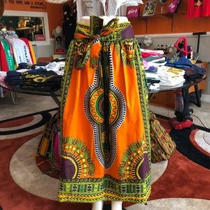 Dresses & Skirts - Orange African Print Maxi Skirt